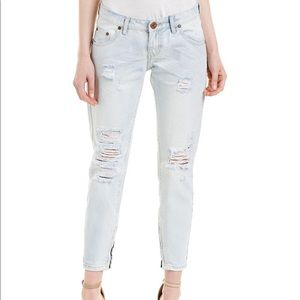 One teaspoon thrashed free birds cropped jeans
